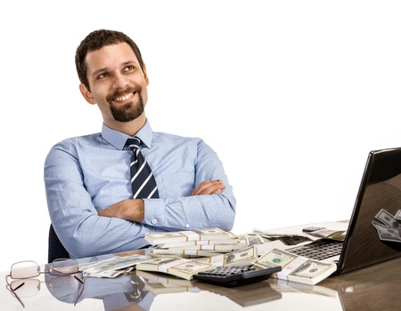monies: hilarious businessman with arms crossed - isolated on white background Stock Photo