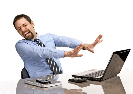 shocked businessman with eyes closed is against uncensored Internet content