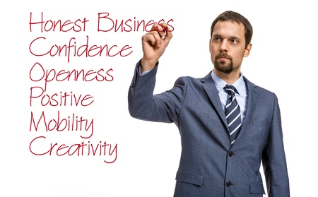 cfo: strict entrepreneur describes the basic principles of doing business - isolated on white background Stock Photo