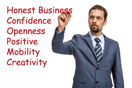 graceful entrepreneur describes the basic principles of doing business - isolated on white background Stock Photo - 21645687
