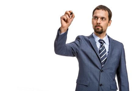 neckcloth: shrewd entrepreneur describes     - isolated on white background Stock Photo
