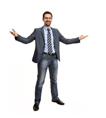 오픈 무기 - 흰색 배경 위에 격리 된 성공적인 비즈니스 남자 스톡 콘텐츠