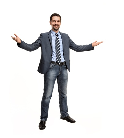 open hands: Successful business man with open arms - isolated over a white background Stock Photo