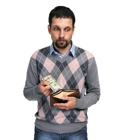 empty wallet: Upset man holding one dollar in hand and showing empty wallet to