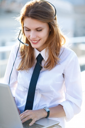 Active Call Center Operator Girl photo