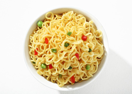low cal: Big noodle bowl - top view of a bowl of noodles