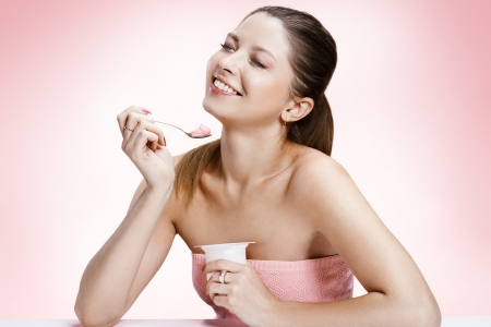 what to eat: Exquisite woman with yogurt