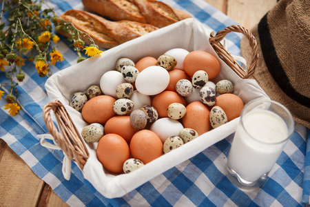 beauteous: Bird eggs - HQ shot of  raw eggs and a glass of fresh milk on tablecloth