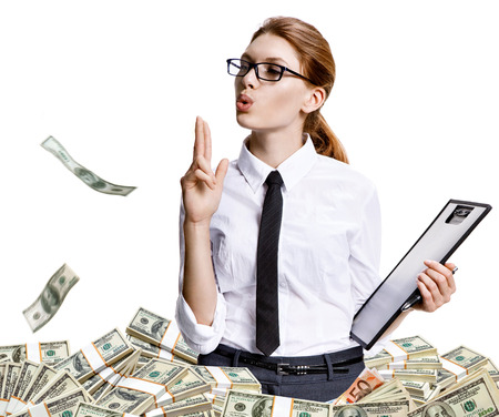 shut down: Shut you down baby - studio shoot of beautiful attractive business woman among a lot of paper money - isolated on white background Stock Photo