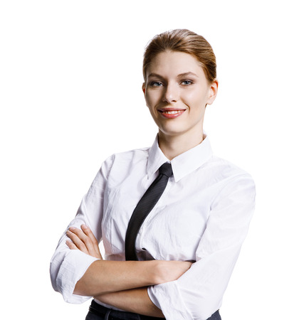 countenance: Arms folded - stock image of businesswoman with crossed arms - isolated on white background Stock Photo