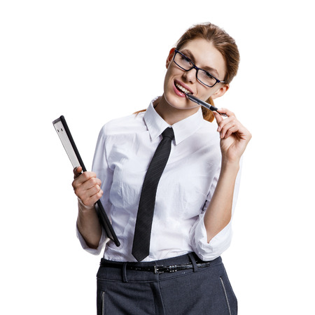 liberated: Truly liberated woman - stock image of woman holding a pen with her mouth - isolated on white background