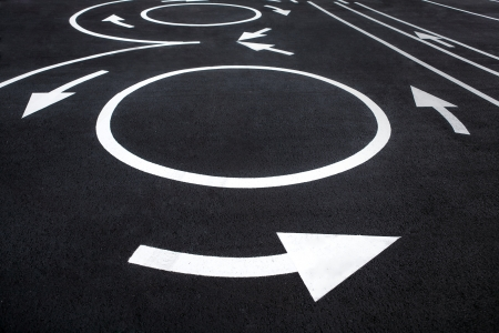 road surface: Road surface marking - photography of road markings and traffic symbol on surface road Stock Photo