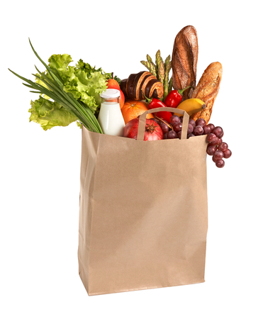 grocery bag: Healthy foods to buy - studio photography of brown grocery bag with fruits, vegetables, bread, bottled beverages - isolated over white background