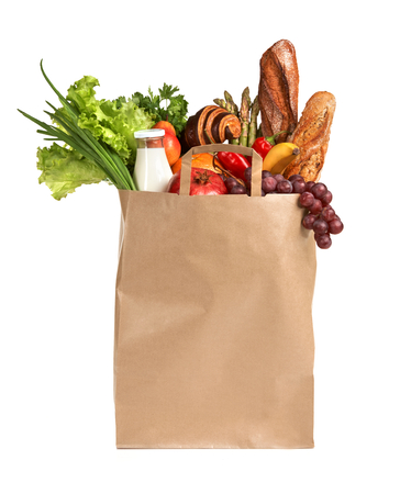 healthy foods: Best Foods For Women - studio photography of brown grocery bag with fruits, vegetables, bread, bottled beverages - isolated over white background