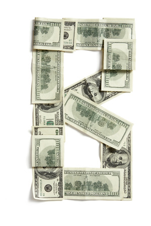 studio b: B - dollar letter made of real money   studio photography of money made alphabet - on white background