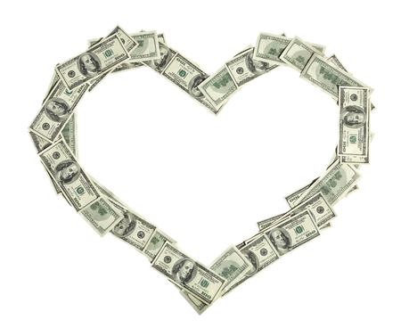 Heart shape - studio photography of american moneys of hundred dollar on white background photo