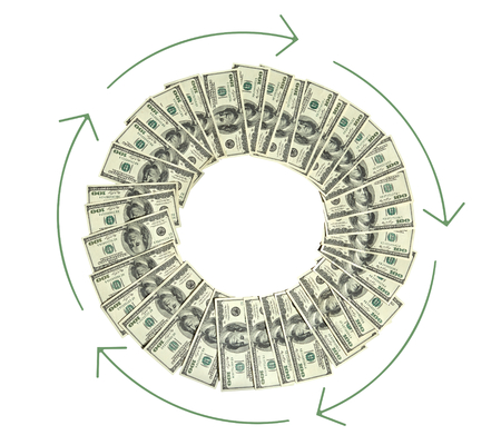 cash cycle: Money circulation - studio photography of american moneys of hundred dollar on white background Stock Photo