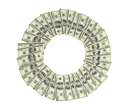 cash cycle: Circle of money - studio photography of american moneys of hundred dollar on white background
