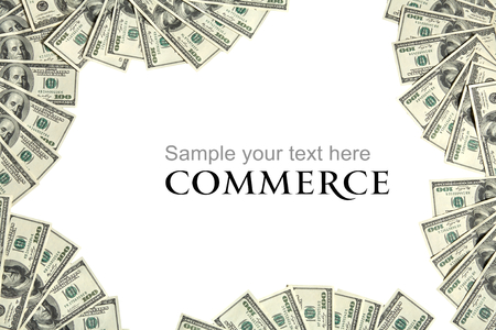 dividends: Commerce background concept and place for the text - studio photography of american currency of hundred dollar on white background