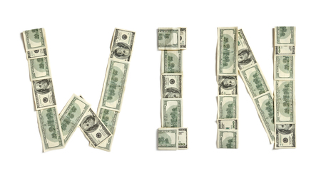win money: Word  WIN  made of dollars - studio photography of money made word - on white  Stock Photo