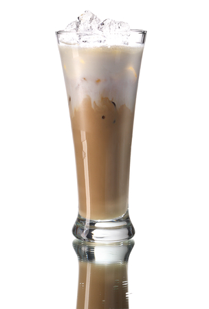 mouth watering: Ice coffee - studio photography of beverages isolated on white background with reflection