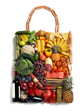 detoxing: handbag made from different fruits and vegetables on white background