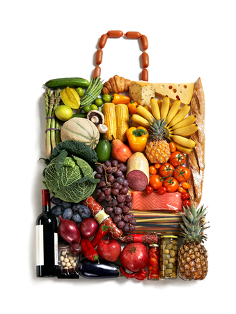 designer handbag made from different fruits and vegetables on white background photo