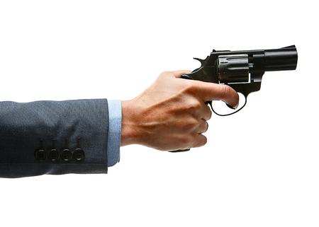 perpetrator: Male hand aiming revolver gun