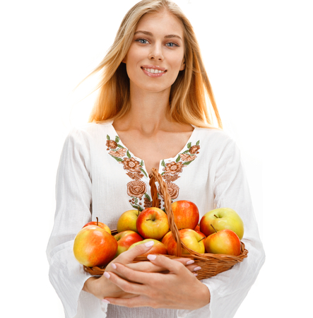 Cute woman with ripe apples photo