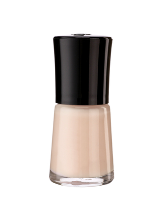 Beige nail polish - product photography of glass vial with black lacquer cap photo