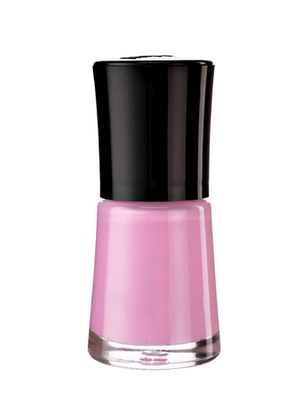Pink nail polish - product photography of glass vial with black lacquer cap photo