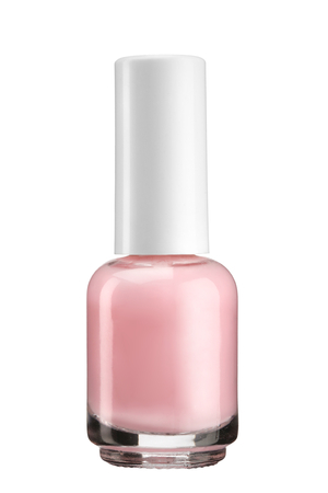 photo of object s: Pink nail varnish - product photography of glass vial with white lacquer cap Stock Photo