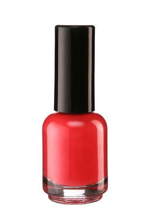 photo of object s: Red nail polish - product photography of glass vial with black lacquer cap Stock Photo