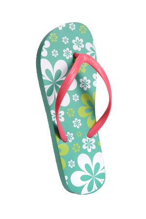 womenīŋŊs: Brightly colored flip flops with flowers - object photography in a studio of women s beach shoes - isolated on white background