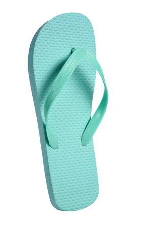 Turquoise flip flops - object photography in a studio of women s beach shoes - isolated on white background photo