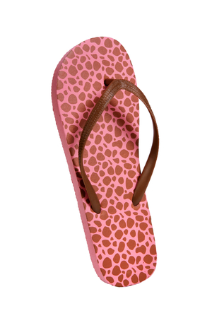 photo of object s: Beach flip flops - Brown-pink leopard - object photography in a studio of women s beach shoes - isolated on white background