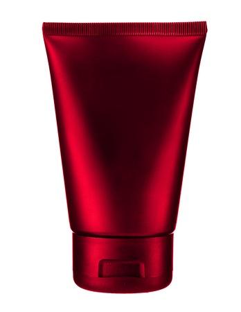 Cherry cosmetic tube - studio photography of red plastic tube for cream  photo