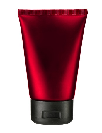 studio photography of red plastic tube for cream  photo