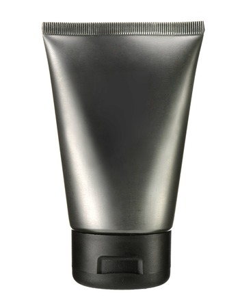 moisten: Dark gray cosmetic tube - studio photography of gray plastic tube for cream  Stock Photo