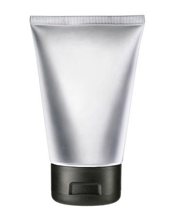 Light gray cosmetic tube - studio photography of gray plastic tube for cream photo