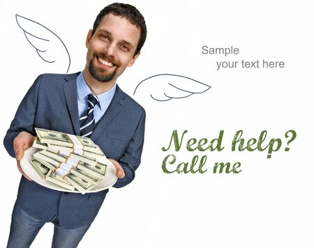 generous: Banker with angel wings - happy smiling young businessman in a suit jacket offering stacks of dollar bills for shopping - isolated on white background with copy space Stock Photo