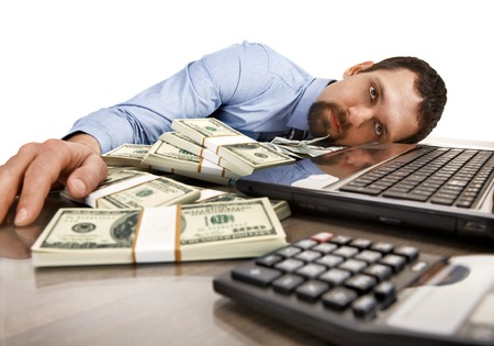 cash desk: Good time to sleep - young man in shirt and tie asleep on workplace - isolated on white background
