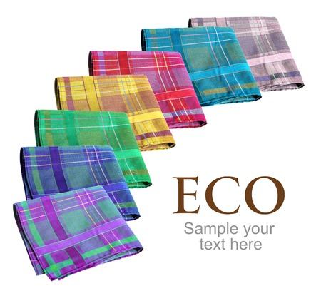 snivel: Eco handkerchiefs collection - studio photography of colorful nose-rags - isolated on white background Stock Photo