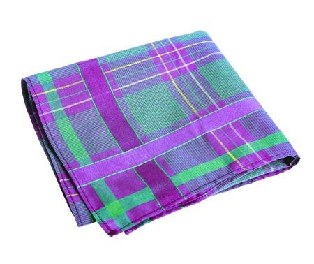 Purple green handkerchief - studio photography of nose rag - isolated on white background Stock Photo