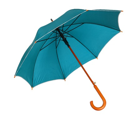 brolly: Blue green umbrella - studio photo of opened umbrella - isolated on white background