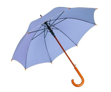 brolly: Blue umbrella - studio photo of opened umbrella - isolated on white background Stock Photo