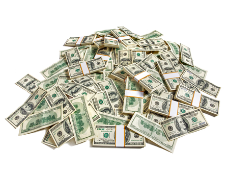 money packs: Huge pile of money - studio photography of American moneys of hundred dollar