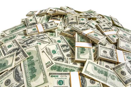 Dollaro banconote heap - fotografia in studio di denari americani di centinaia di dollari Archivio Fotografico - 27434636
