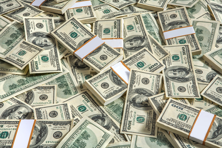 Achtergrond met geld Amerikaanse honderd dollarbiljetten - studiofotografie van USD