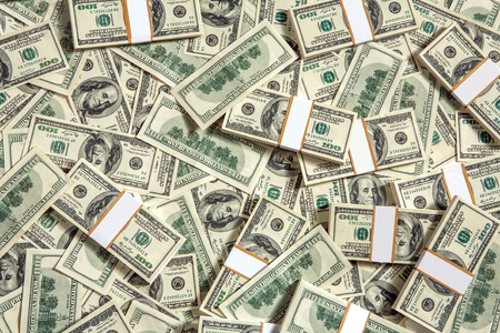 money packs: Background with money - studio photography of American moneys of hundred dollar Stock Photo